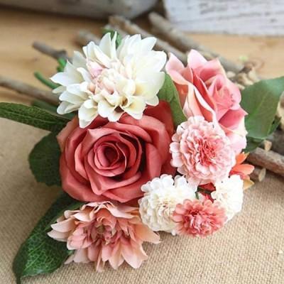 造花 インテリア 花束 ブーケ 手作り 枯れない花 ウェディング 飾り 撮影 プレゼント ギフト 人工観葉植物(ホワイトピンク2)