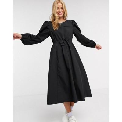 モンキ Monki レディース ワンピース ミドル丈 ワンピース・ドレス Mallan cotton midi smock dress in black ブラック
