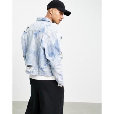 リカーアンドポーカー メンズ ジャケット&ブルゾン アウター Liquor N Poker oversized denim jacket blue with all-over water print Blues