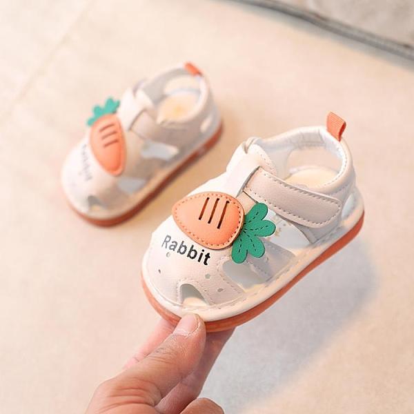 嬰兒學步鞋 嬰兒涼鞋夏季女寶寶叫叫鞋防滑軟底1-2歲學步鞋子幼兒小公主包頭0 歐歐