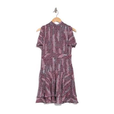 レイス レディース ワンピース トップス Natalie Geo Printed Mock Neck Tiered Mini Dress BERRY