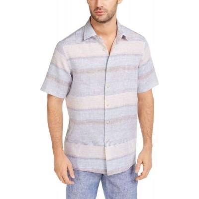 タッソ エルバ Tasso Elba メンズ シャツ トップス Sunset Striped Shirt's Tan Combo