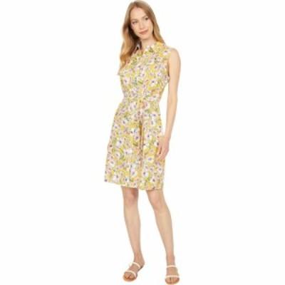 トミー ヒルフィガー Tommy Hilfiger レディース ワンピース ノースリーブ シャツワンピース Floral Sleeveless Shirtdress Deep Maize M