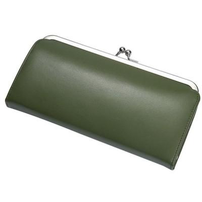 [レガーレ] がま口 ギャルソンタイプ 長財布 財布 レディース 本革 ?使いやすい 薄い財布 ガマ口 (モスグリーン)