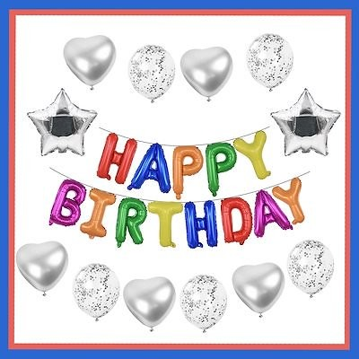 coypeck 誕生日 飾り付け セット バルーン 風船 HAPPY BIRTHDAY 装飾 バースデー パーティー 男女の子 シルバー