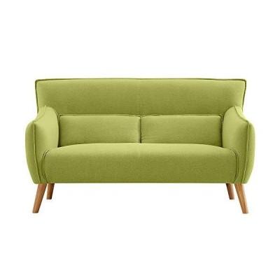 オーエスジェイ(OSJ) ソファ 二人掛け ソファベッド sofa グリーン 約幅143×奥行75×高さ82cm 天然木脚 肘付き コン?