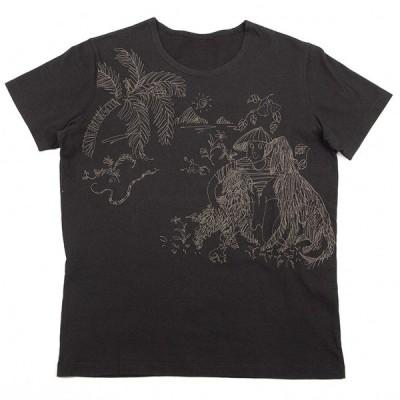 ヨーガンレールJURGEN LEHL ステッチ刺繍Tシャツ 黒M 【レディース】
