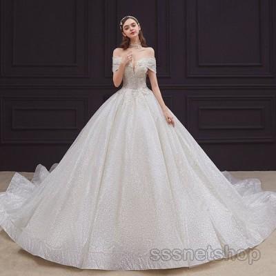 ウェディングドレス 結婚式 大きいサイズ 花嫁ドレス Vネック オフショルダー プリンセスドレス ノースリーブ トレーンライン 二次会 2020新作【sssnetshop】