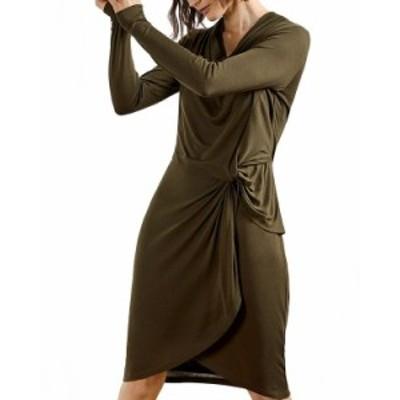 テッドベーカー レディース ワンピース トップス Jersey Drape Long Sleeve Mini Dress Khaki