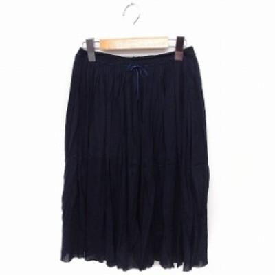 【中古】イエナ IENA スカート ギャザー ロング 無地 シンプル ネイビー 紺 /FT17 レディース