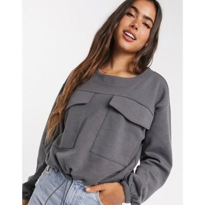 ヴェロモーダ レディース シャツ トップス Vero Moda sweater two-piece with utility pockets and drawstring in gray