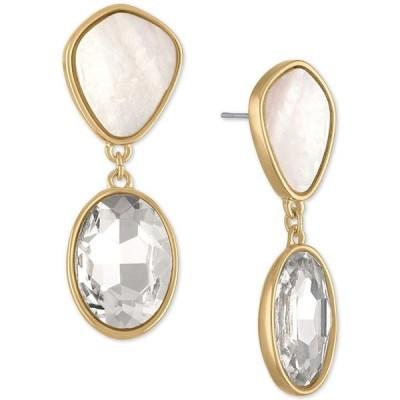 レイチェル ロイ レディース ピアス・イヤリング アクセサリー Gold-Tone White Stone & Crystal Double Drop Earrings