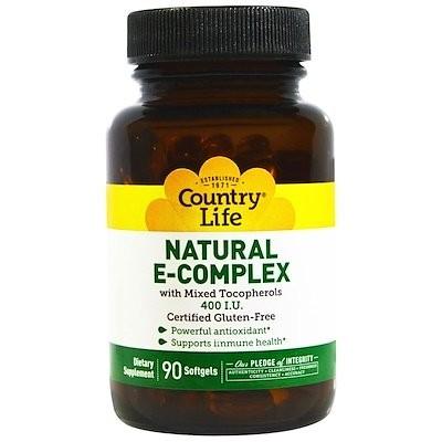 ナチュラル E-コンプレックス、400 IU、90 ソフトジェル