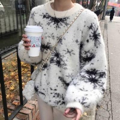 雪の結晶デザインニット セーター パフスリーブ ゆったり 体型カバー オーバーサイズ 秋 冬 体型カバー 大人 デート お出かけ 旅行