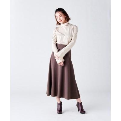 スカート フロントボタンフレアスカート