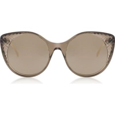 ボッテガ ヴェネタ Bottega Veneta レディース メガネ・サングラス BV0148S Transparent Brown Acetate Sunglasses Brown/Gold