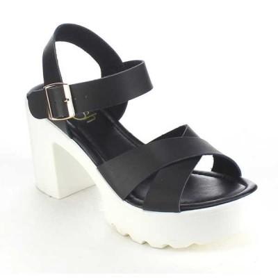 ヒール パンプス シューズ 靴  レディース Lug Sole Platform Criss クロス アンクルストラップ Chunky ハイヒール ブラック;TAN;ホワイト BLACK