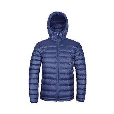 ダウンジャケット メンズ グースダウン 軽量 防寒 防風 登山 暖かい ウルトラライトダウン フード付き ダウンパーカー 秋冬 (ブルー XL)