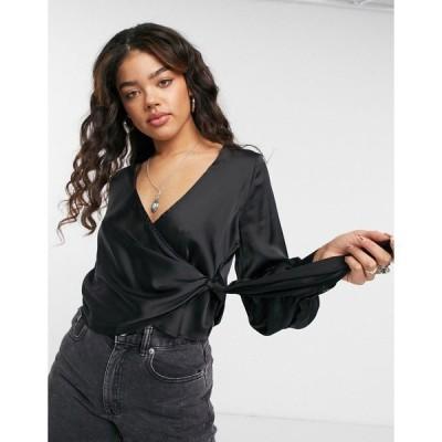 エモリーパーク レディース シャツ トップス Emory Park relaxed wrap blouse in satin Black