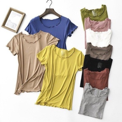 大きいサイズ レディース 服 フリルカットデザイン スレッドリブ Tシャツ トップス