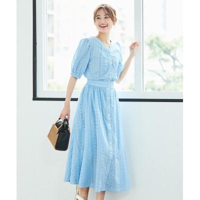 【大きいサイズ】 フェミニンストーリー 綿100%ストライプオールオーバー刺しゅうフロントボタンワンピース(ペチコート付) ワンピース, plus size dress