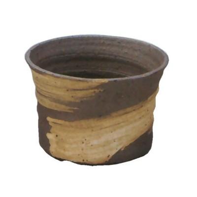 日本製 植木鉢 刷毛目 ソリ浅 3号 全高7cm×幅10cm 信楽焼 しがらきやき 陶器製 陶器鉢 焼き物 底穴あり プランター ポット