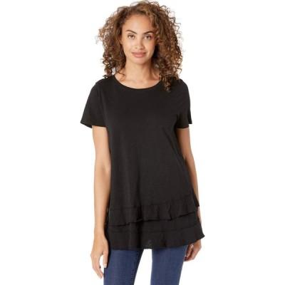 モドオードック Mod-o-doc レディース Tシャツ トップス Slub Jersey Asymmetrical Flounce Hem Tee Black