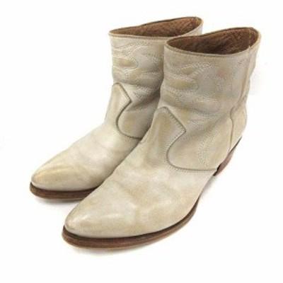 【中古】ブッテロ BUTTERO ブーツ ショート レザー ローヒール 総柄 37 白 B5073 /YI9 レディース