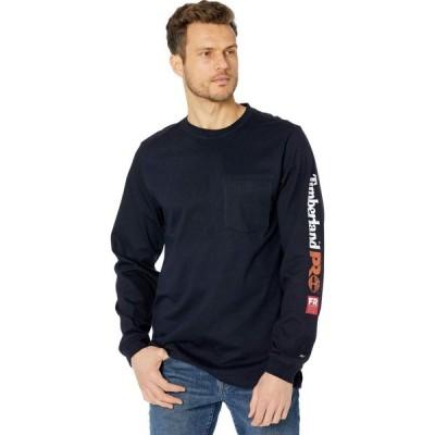 ティンバーランド Timberland PRO メンズ 長袖Tシャツ ポケット トップス FR Cotton Core Long Sleeve Pocket T-Shirt with Sleeve Logo Navy