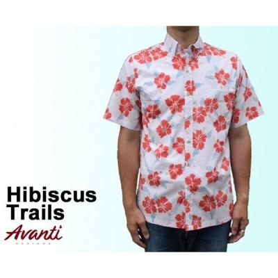 AVANTI アヴァンティ アロハシャツ ハイビスカス 白 コットン ハワイ製  「Hibiscus Trails」