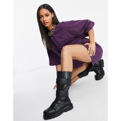 エイソス レディース ワンピース トップス ASOS DESIGN oversized t-shirt dress in dark purple