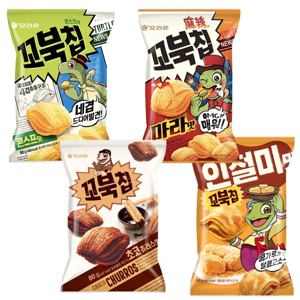 韓國 ORION 好麗友 烏龜玉米脆片(80g)  烏龜餅乾 濃湯 麻辣 烤麻糬 巧克力 海苔【美日多多】