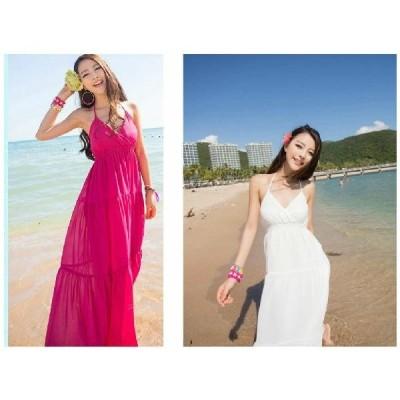 ドレス マキシ白いVネック妖精ホルター ボヘミアンドレスマキシスカートVネックホルターでふんわり可愛らしく