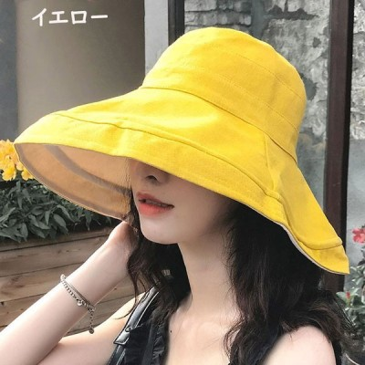 日よけ帽子レディース紫外線カット春夏秋UVカット帽子ハットつば広紐付き綿ナチュラルハット日よけ折りたたみ日焼け防止旅行女優帽飛ばない