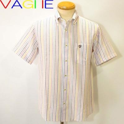 バジエ SALE 半袖ボタンダウンオープンシャツ 白M・L・ LL 2220-1504 VAGIIE