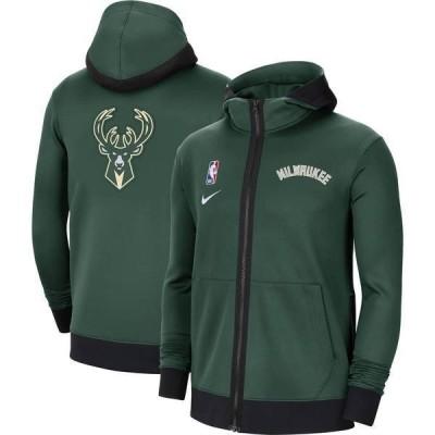ナイキ メンズ パーカー・スウェット アウター Nike Men's Milwaukee Bucks Black Therma Flex Full-Zip Hoodie