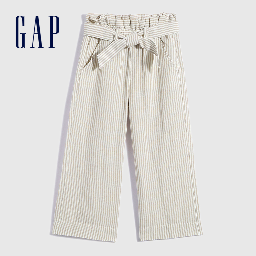Gap 女童 亞麻混紡腰帶休閒寬褲 685454-灰色條紋