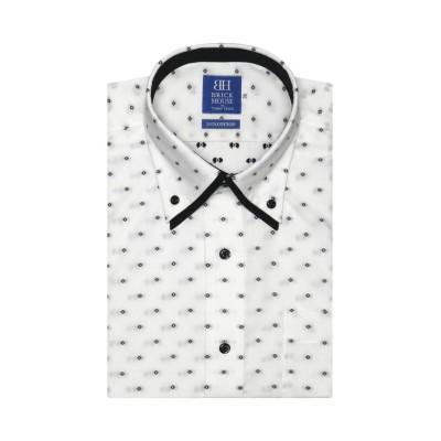 【トーキョーシャツ】 ワイシャツ 半袖 形態安定 ボタンダウンダブルカラー  白×黒 メンズ クロ・グレー 37(半袖) TOKYO SHIRTS