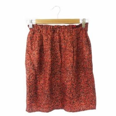 【中古】デプレ DES PRES トゥモローランド スカート タイト ミニ ウエストゴム 絹 シルク 総柄 0 赤 レッド