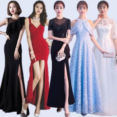 Q102韓国ファッション/ワンピース/高品質/アイテム/タイドブランド/正式な場合、礼装ドレス セクシーなワンピース、一字肩 二点セット、側開、深いVネック やせて見える、ハイウエス