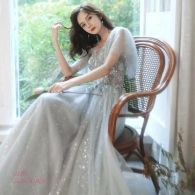 パーティードレス ワンピース ウェディングドレス 結婚式 成人式 パーティードレス 誕生日 エンパイア 花嫁ロングドレスお呼ばれ 挙式 エレ演奏会