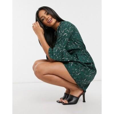 アックスパリ レディース ワンピース トップス AX Paris fluted sleeve mini dress in green abstract spot