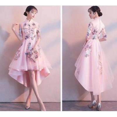 パーティードレス ロングドレス チャイナドレス お呼ばれドレス フィッシュテール アシンメトリー 花柄 レース お呼ばれ 二次会 結婚式