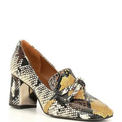 ドナルドプリネール レディース スリッポン・ローファー シューズ Camee Snake Print Block Heel Loafers Yellow