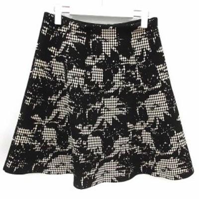 【中古】アンテプリマ ANTEPRIMA スカート ひざ丈 フレア 総柄 40 L 白 ホワイト 黒 ブラック /KX レディース