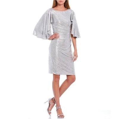 エリザジェイ レディース ワンピース トップス Metallic Animal Print Stretch Knit Flutter Sleeve Sheath Dress