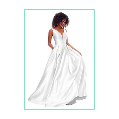Zhongde Women's V Neck Open Back Beaded Satin Prom Dress Long Wedding Bridal Gown with Pockets White Size 12並行輸入品