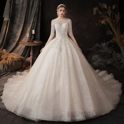 ウェディングドレス 袖あり 二次会花嫁ドレス トレーンライン 背中見せ プリンセスドレス 披露宴 パーティードレス 挙式 ナイトドレス 2020新作【sssnetshop】