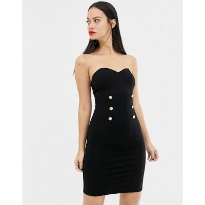 ユニークトゥエンティワン ミディドレス レディース Unique21 sweetheart neckline midi dress with button detail エイソス ASOS ブラック 黒