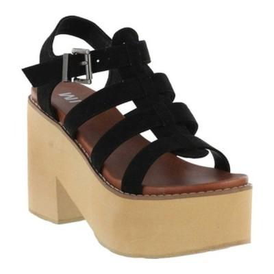 ミア サンダル シューズ レディース Vinita Gladiator Platform Heeled Sandal (Women's) Black Vegan Nova Suede